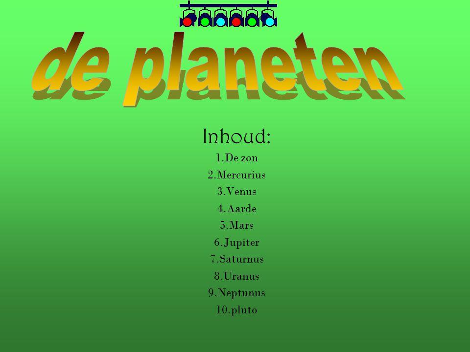 de planeten Inhoud: 1.De zon 2.Mercurius 3.Venus 4.Aarde 5.Mars
