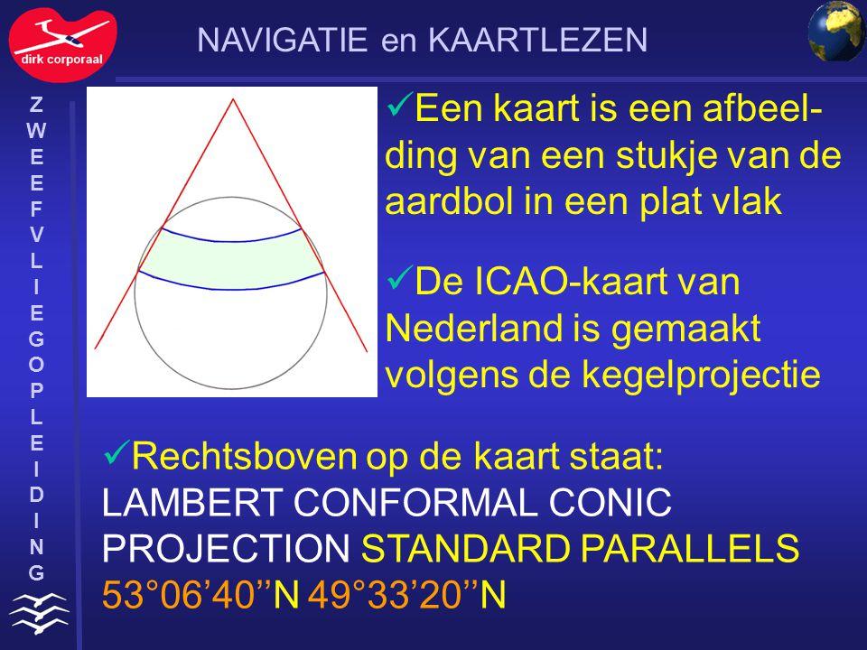De ICAO-kaart van Nederland is gemaakt volgens de kegelprojectie