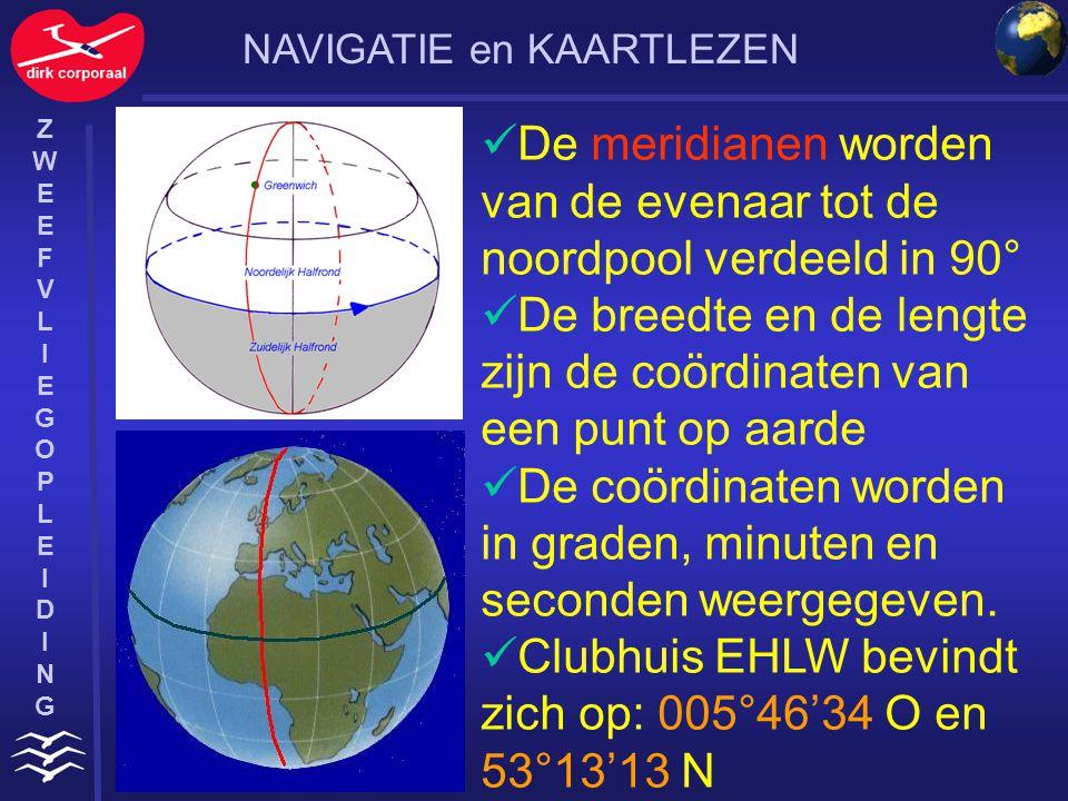 De meridianen worden van de evenaar tot de noordpool verdeeld in 90°