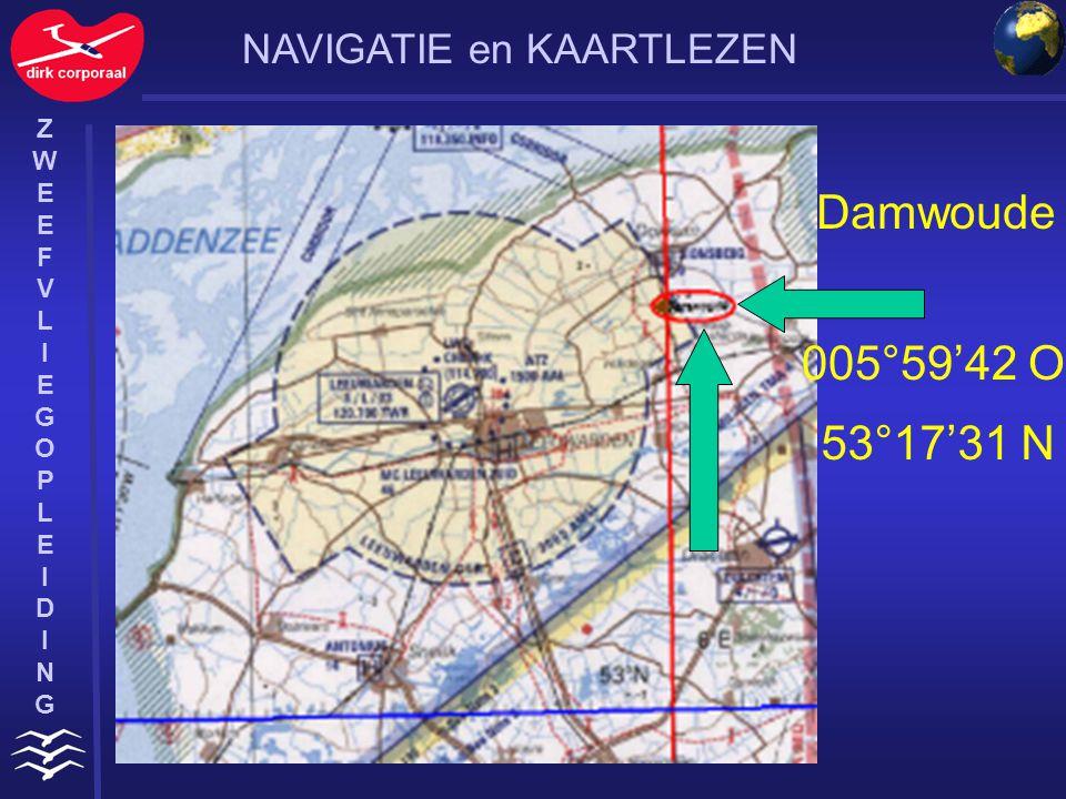 Damwoude 005°59'42 O 53°17'31 N NAVIGATIE en KAARTLEZEN Z W E F V L I