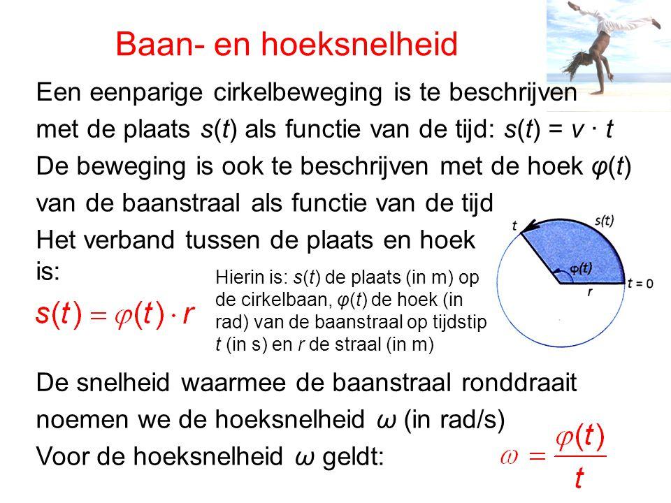 Baan- en hoeksnelheid Een eenparige cirkelbeweging is te beschrijven