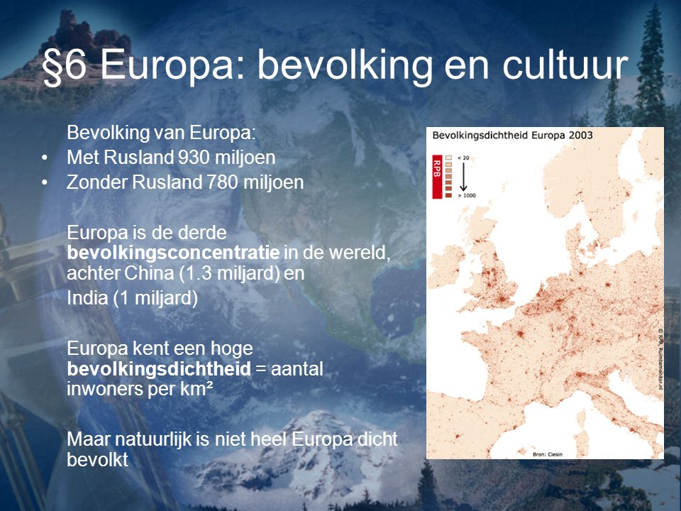 §6 Europa: bevolking en cultuur
