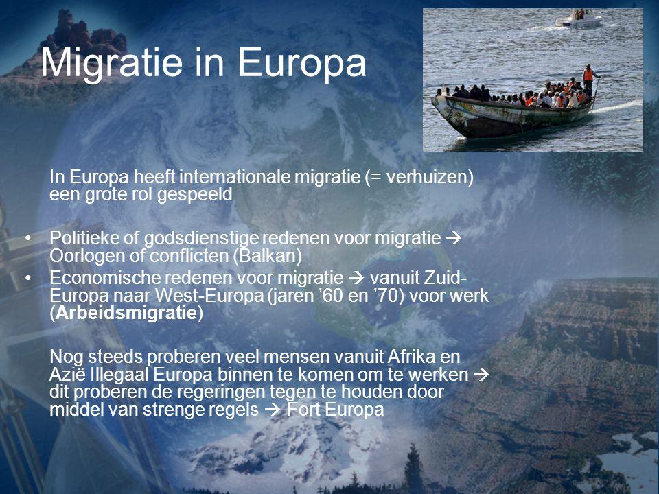 Migratie in Europa In Europa heeft internationale migratie (= verhuizen) een grote rol gespeeld.