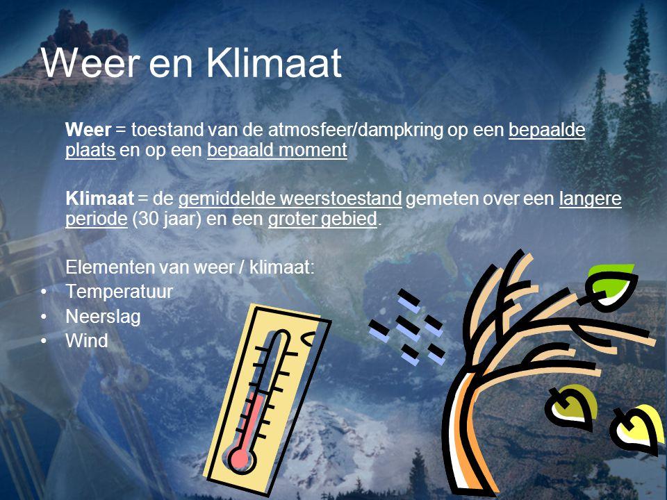 Weer en Klimaat Weer = toestand van de atmosfeer/dampkring op een bepaalde plaats en op een bepaald moment.