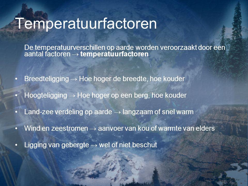 Temperatuurfactoren De temperatuurverschillen op aarde worden veroorzaakt door een aantal factoren → temperatuurfactoren.