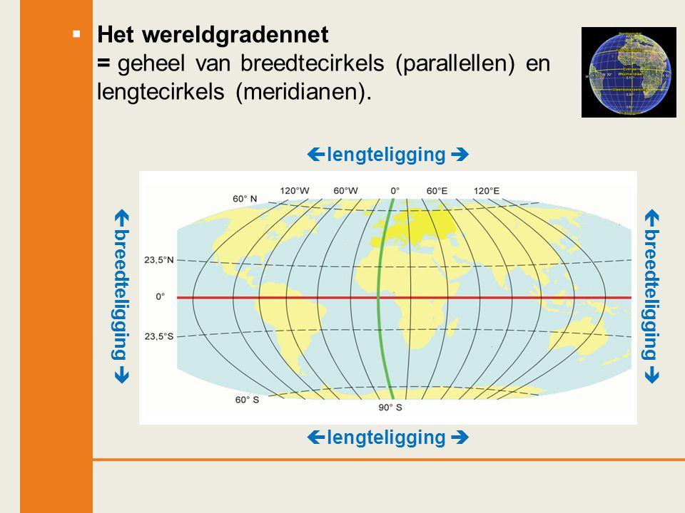 Het wereldgradennet = geheel van breedtecirkels (parallellen) en lengtecirkels (meridianen).