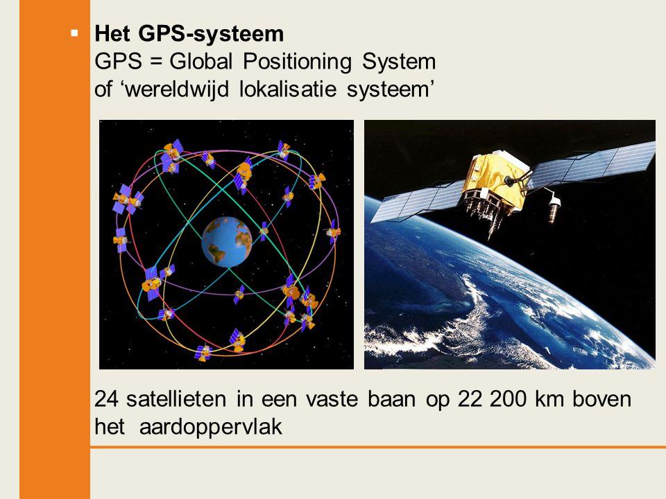 Het GPS-systeem GPS = Global Positioning System of 'wereldwijd lokalisatie systeem'