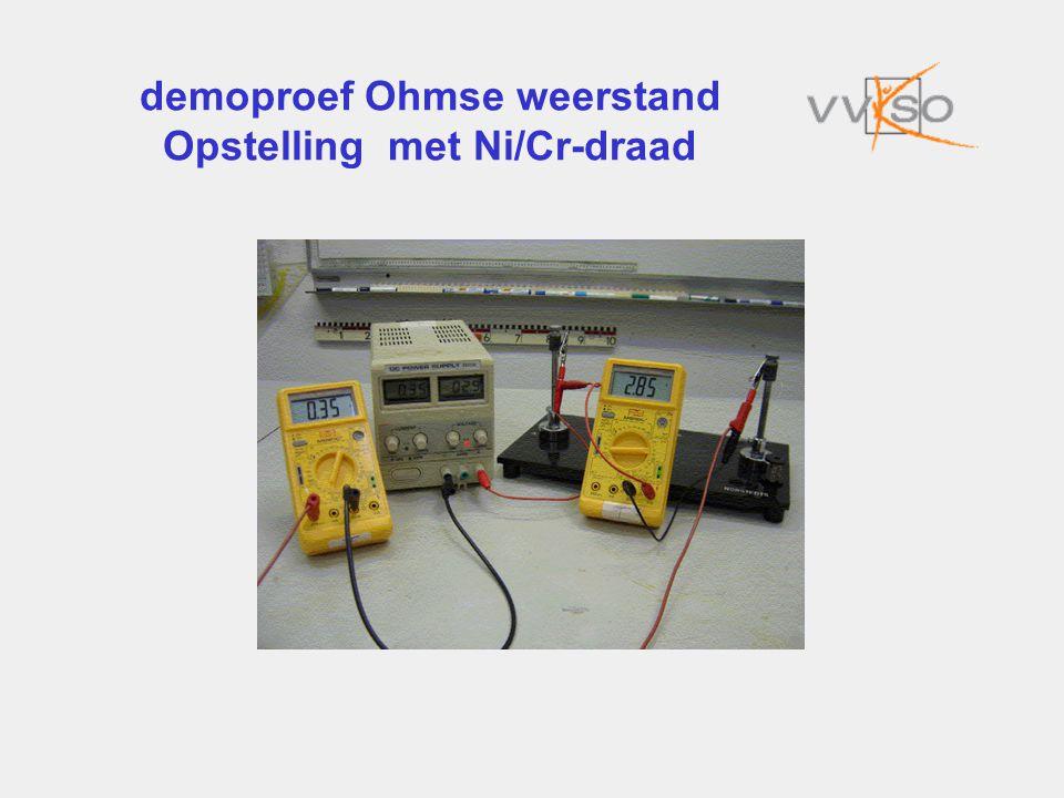 demoproef Ohmse weerstand Opstelling met Ni/Cr-draad