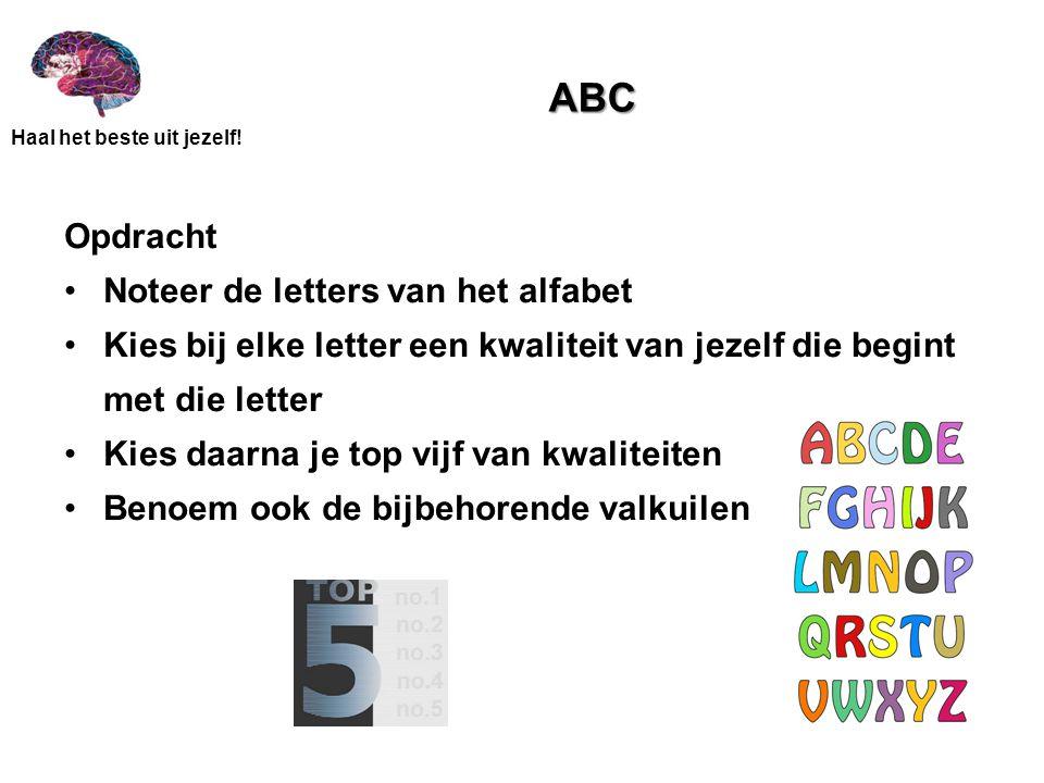 ABC Opdracht Noteer de letters van het alfabet