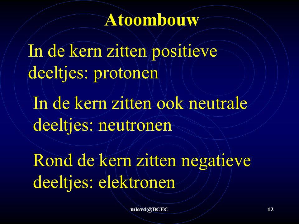 In de kern zitten positieve deeltjes: protonen
