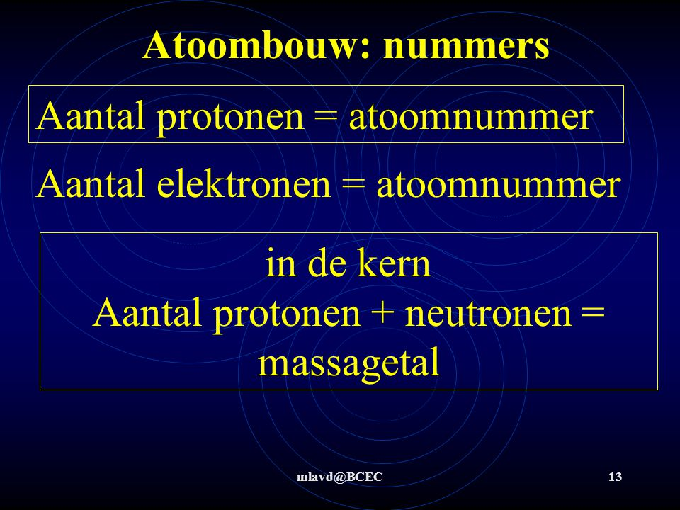 in de kern Aantal protonen + neutronen = massagetal