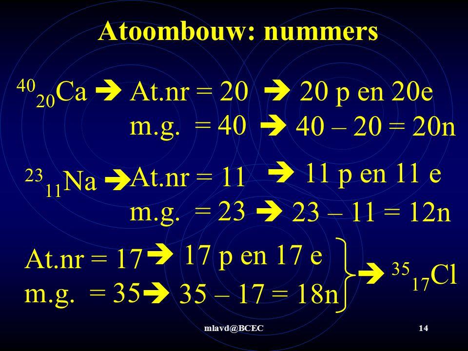 Atoombouw: nummers 4020Ca  At.nr = 20 m.g. = 40  20 p en 20e