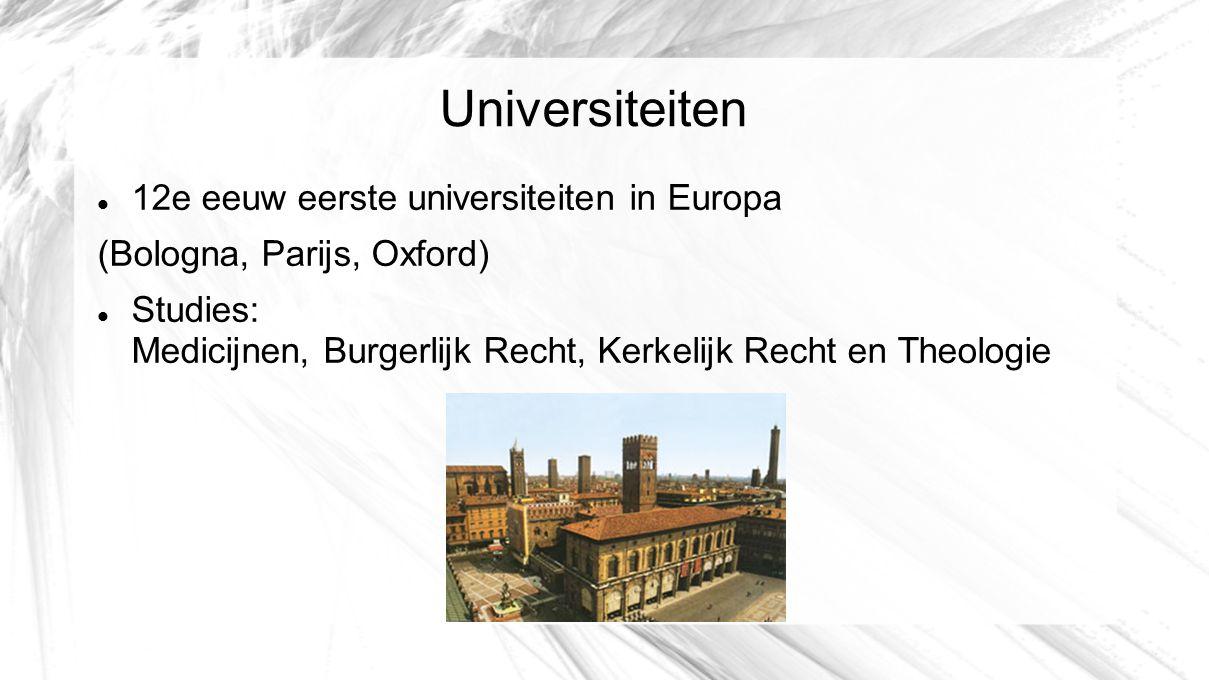 Universiteiten 12e eeuw eerste universiteiten in Europa