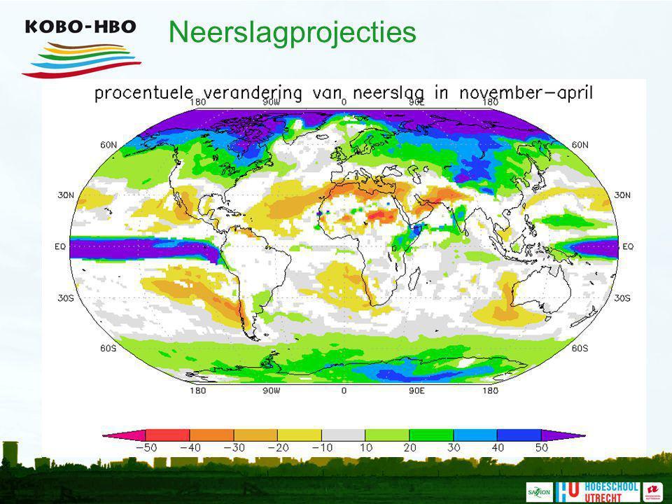 Neerslagprojecties Naast de zeespiegelstijging is er ook sprake van veranderingen in de neerslagpatronen wereldwijd.