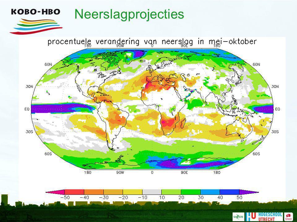 Neerslagprojecties Datzelfde patroon speelt zich af in de periode van mei tot oktober ( de zomertijd )