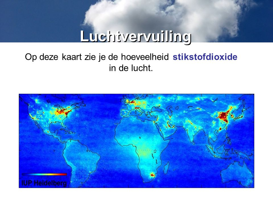 Op deze kaart zie je de hoeveelheid stikstofdioxide
