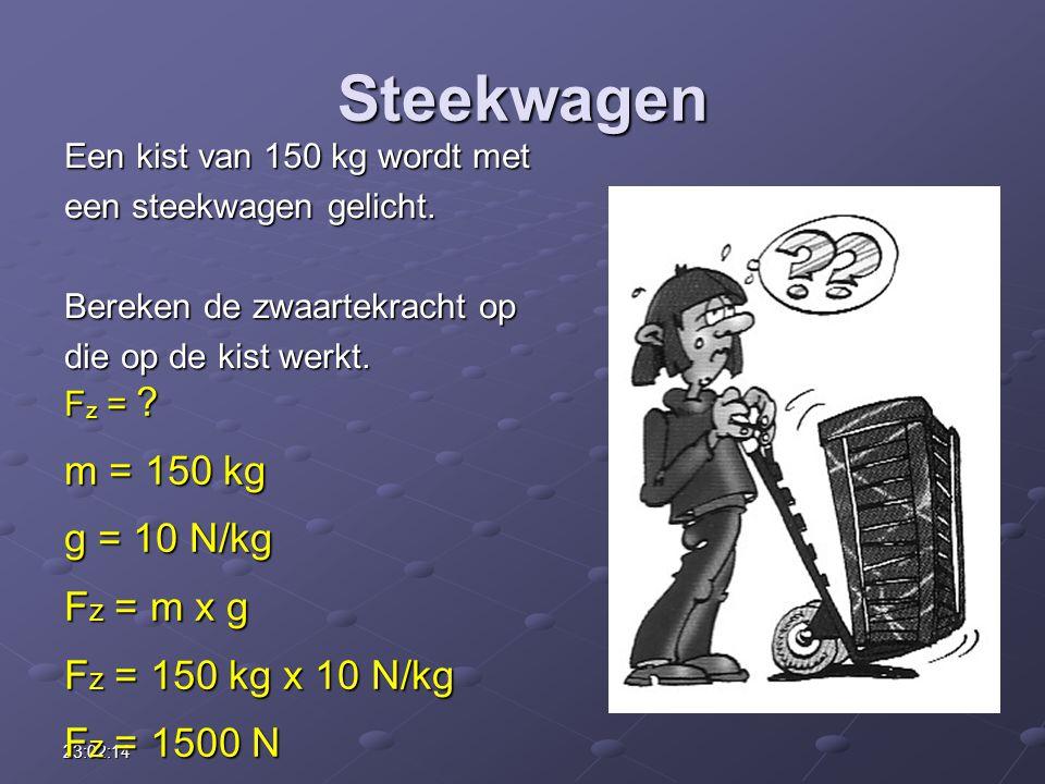 Steekwagen m = 150 kg g = 10 N/kg Fz = m x g Fz = 150 kg x 10 N/kg