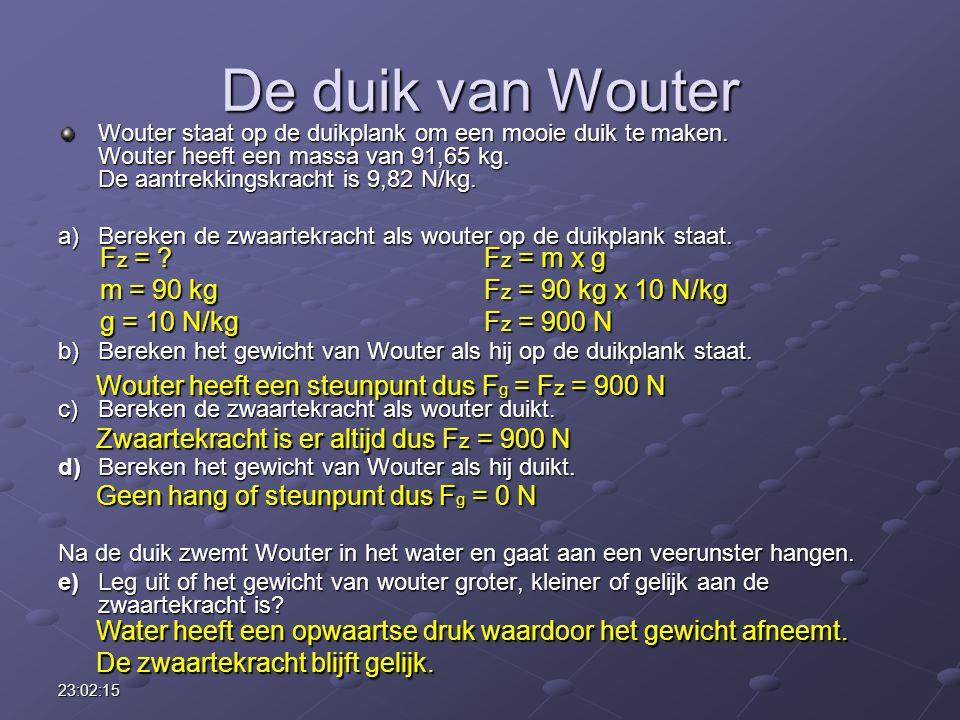 De duik van Wouter Fz = Fz = m x g m = 90 kg Fz = 90 kg x 10 N/kg