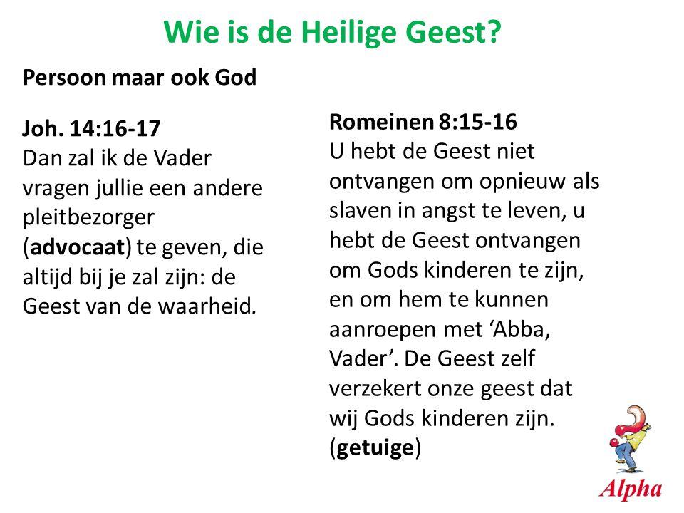 Wie is de Heilige Geest Persoon maar ook God Joh. 14:16-17