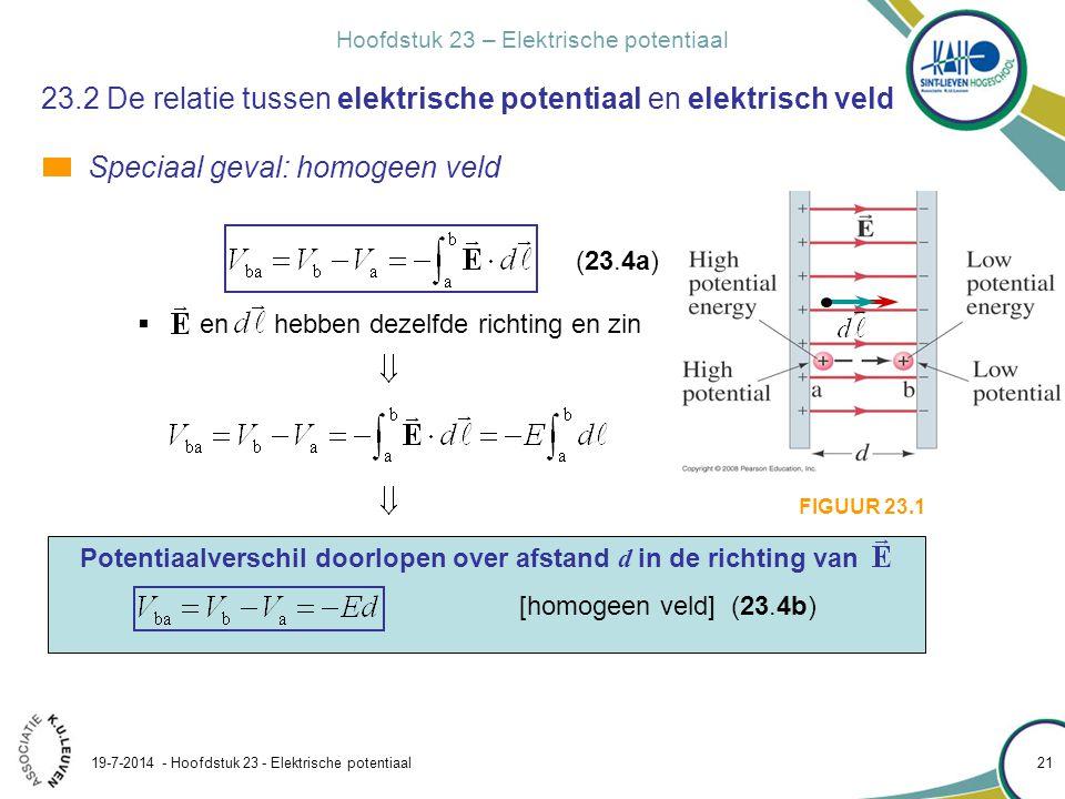 23.2 De relatie tussen elektrische potentiaal en elektrisch veld