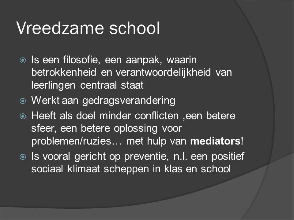 Vreedzame school Is een filosofie, een aanpak, waarin betrokkenheid en verantwoordelijkheid van leerlingen centraal staat.