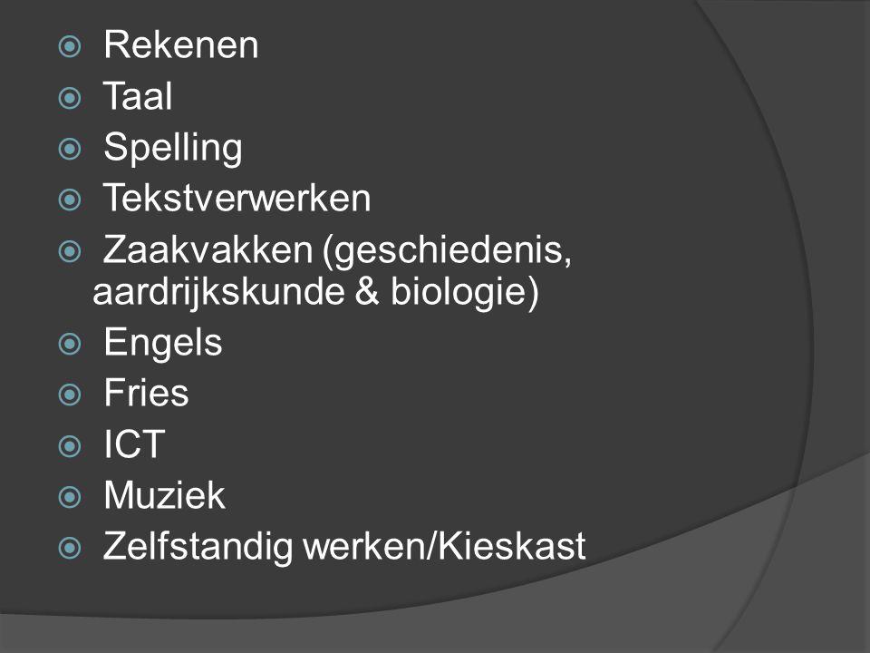 Rekenen Taal. Spelling. Tekstverwerken. Zaakvakken (geschiedenis, aardrijkskunde & biologie) Engels.