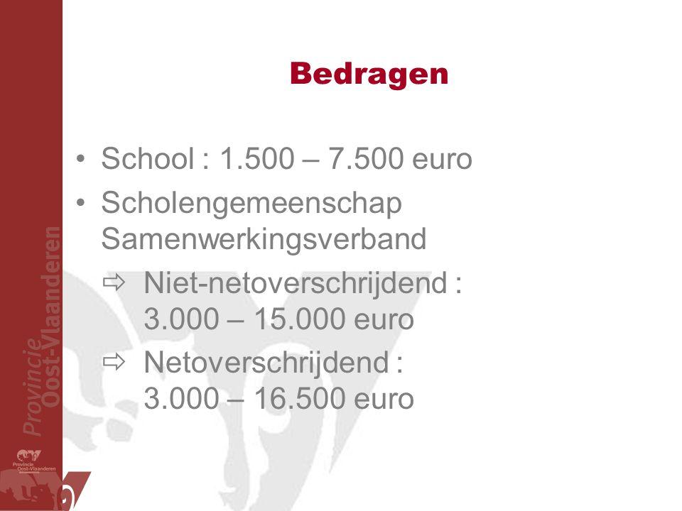 Bedragen School : 1.500 – 7.500 euro. Scholengemeenschap Samenwerkingsverband.  Niet-netoverschrijdend : 3.000 – 15.000 euro.