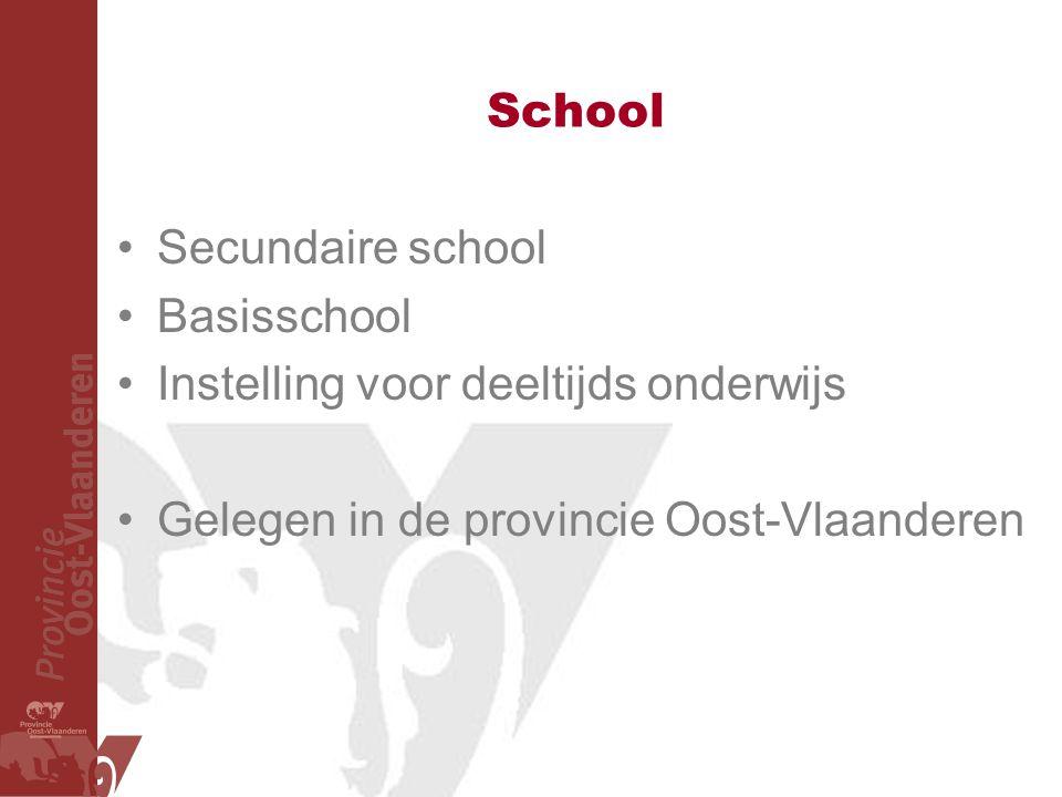 School Secundaire school. Basisschool. Instelling voor deeltijds onderwijs.