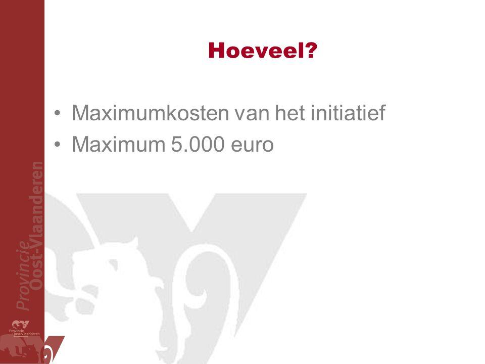Hoeveel Maximumkosten van het initiatief Maximum 5.000 euro