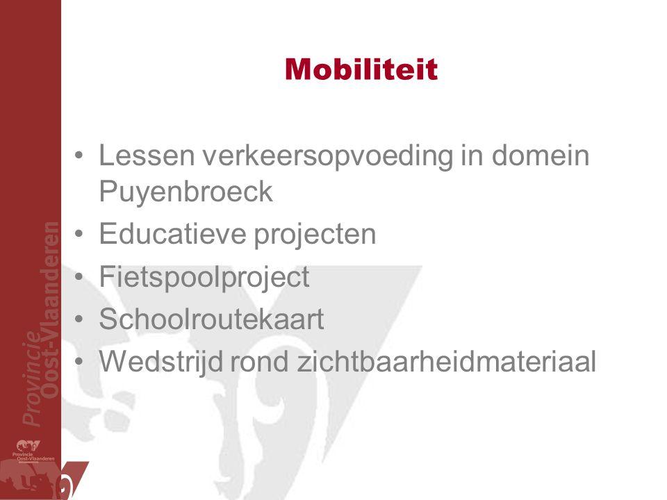 Mobiliteit Lessen verkeersopvoeding in domein Puyenbroeck. Educatieve projecten. Fietspoolproject.