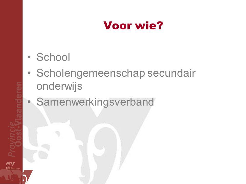 Voor wie School Scholengemeenschap secundair onderwijs Samenwerkingsverband