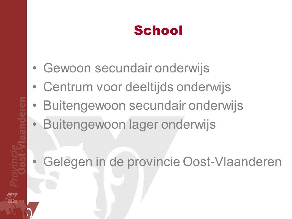 School Gewoon secundair onderwijs. Centrum voor deeltijds onderwijs. Buitengewoon secundair onderwijs.