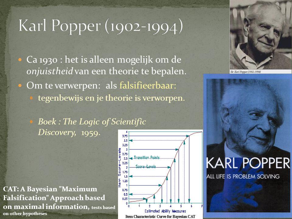 Karl Popper (1902-1994) Ca 1930 : het is alleen mogelijk om de onjuistheid van een theorie te bepalen.
