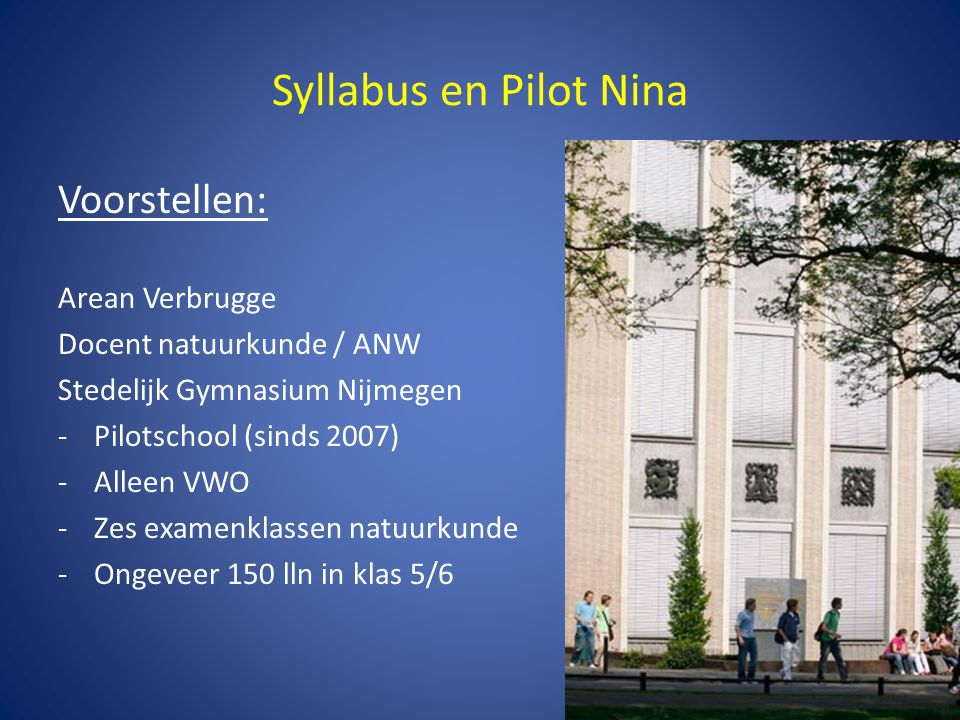 Syllabus en Pilot Nina Voorstellen: Arean Verbrugge