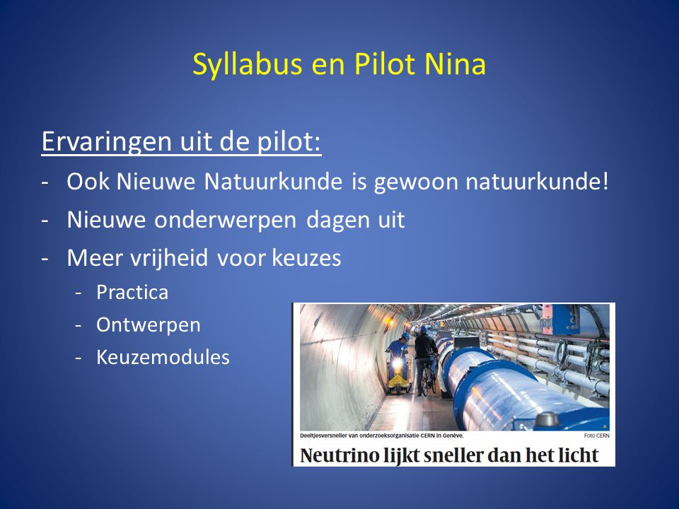 Syllabus en Pilot Nina Ervaringen uit de pilot: