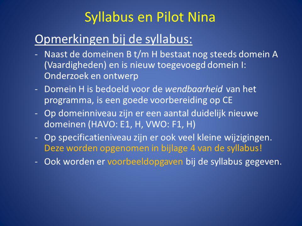 Syllabus en Pilot Nina Opmerkingen bij de syllabus:
