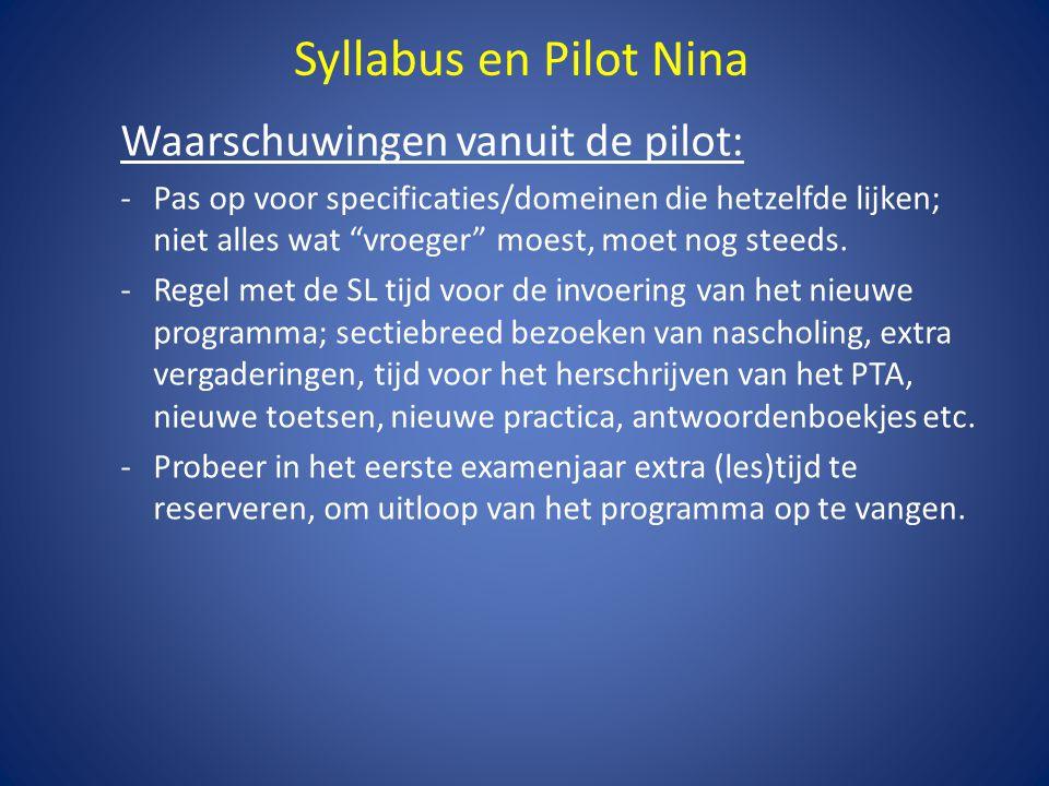 Syllabus en Pilot Nina Waarschuwingen vanuit de pilot: