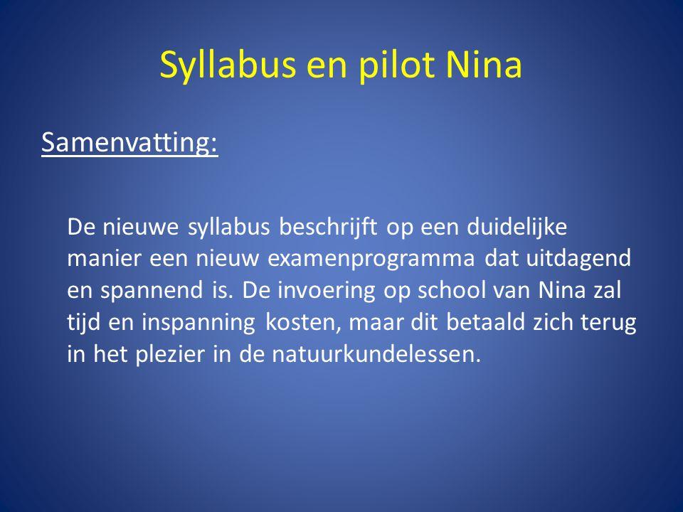 Syllabus en pilot Nina Samenvatting: