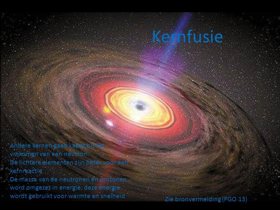 Kernfusie Andere kernen gaan kapot bij het vrijkomen van een neutron.