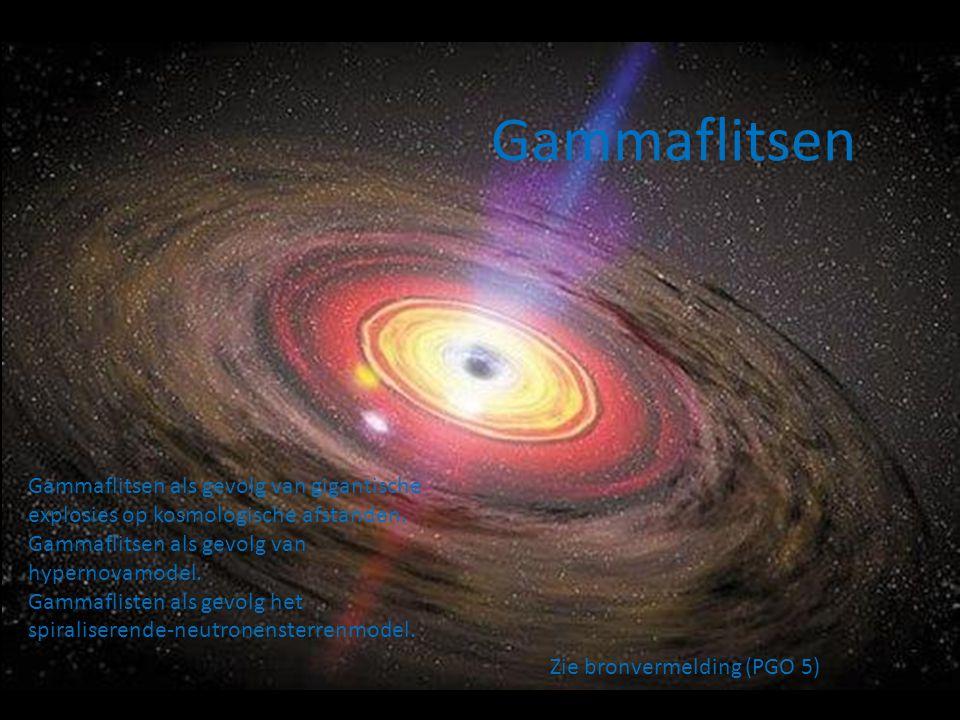 Gammaflitsen Gammaflitsen als gevolg van gigantische explosies op kosmologische afstanden. Gammaflitsen als gevolg van hypernovamodel.