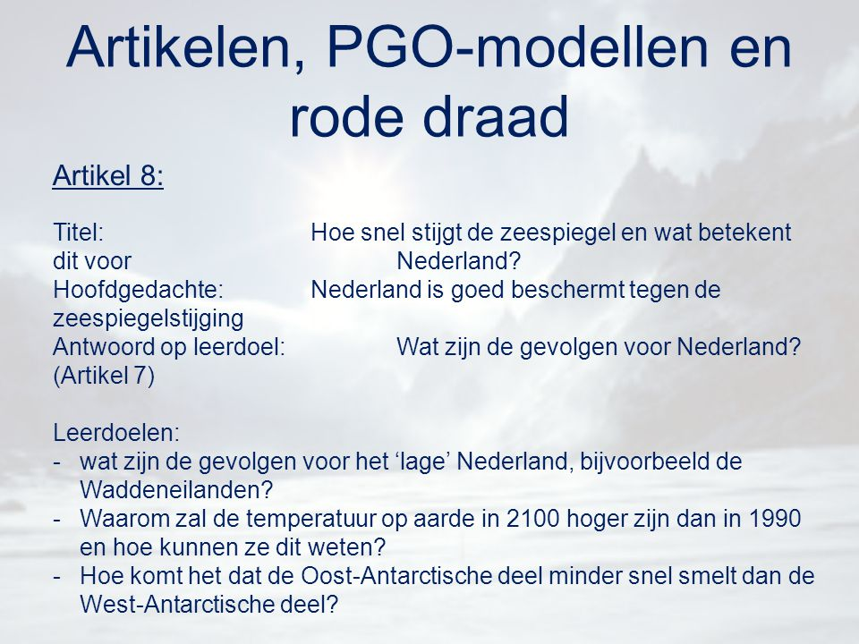 Artikelen, PGO-modellen en rode draad