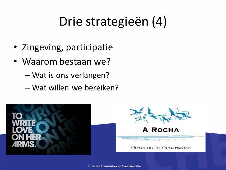 Drie strategieën (4) Zingeving, participatie Waarom bestaan we