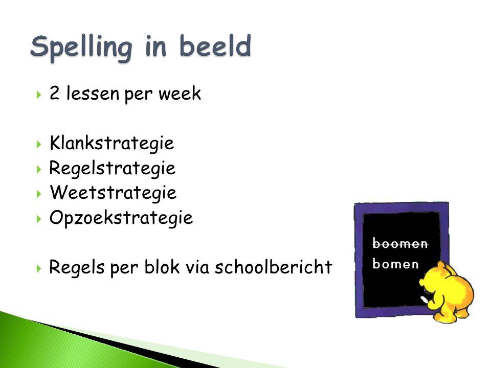 Spelling in beeld 2 lessen per week Klankstrategie Regelstrategie