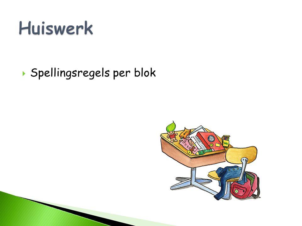 Huiswerk Spellingsregels per blok