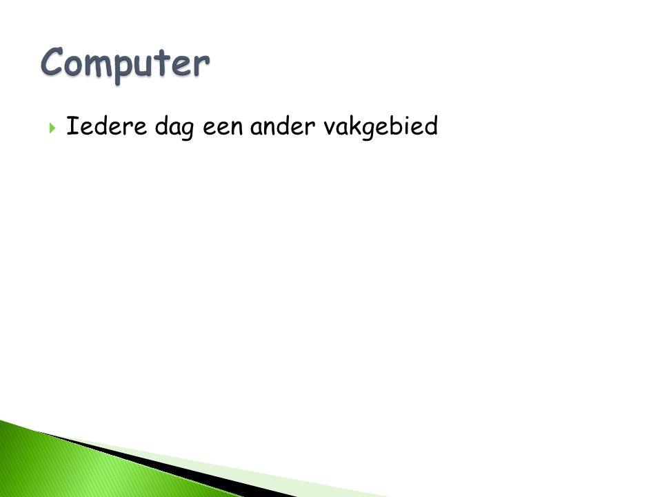 Computer Iedere dag een ander vakgebied