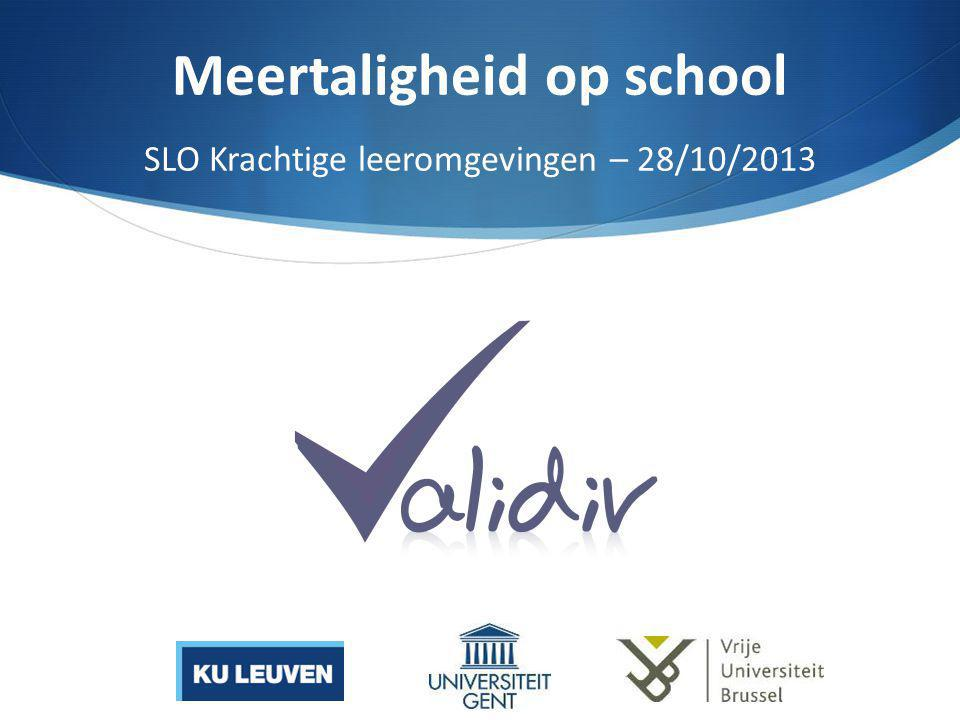Meertaligheid op school SLO Krachtige leeromgevingen – 28/10/2013