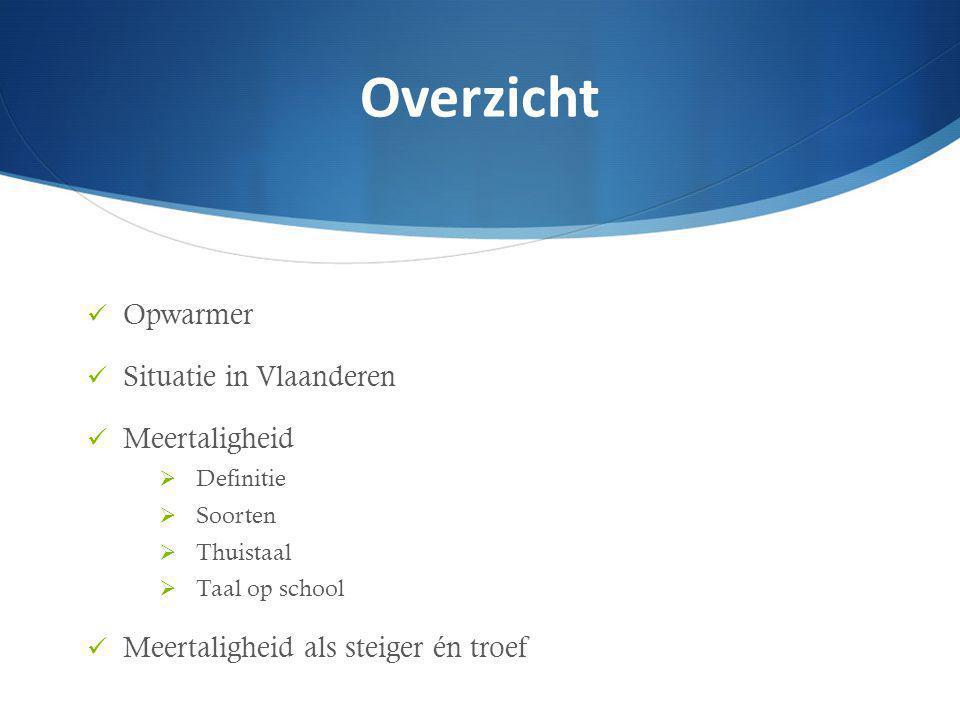 Overzicht Opwarmer Situatie in Vlaanderen Meertaligheid