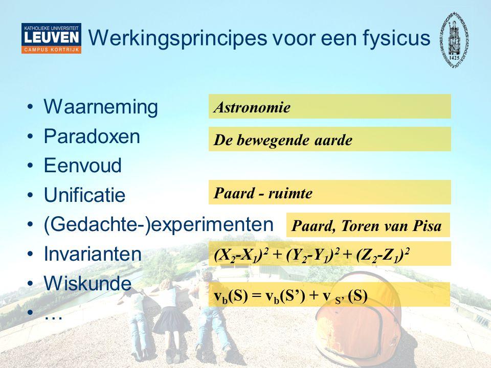 Werkingsprincipes voor een fysicus
