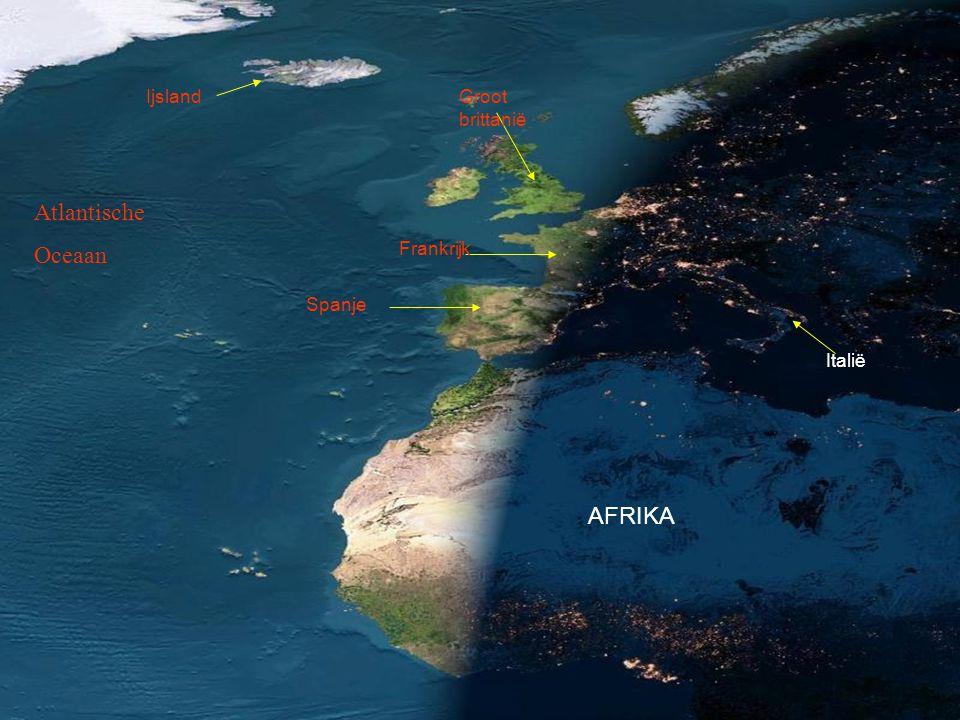 Atlantische Oceaan AFRIKA Ijsland Groot brittanië Frankrijk Spanje