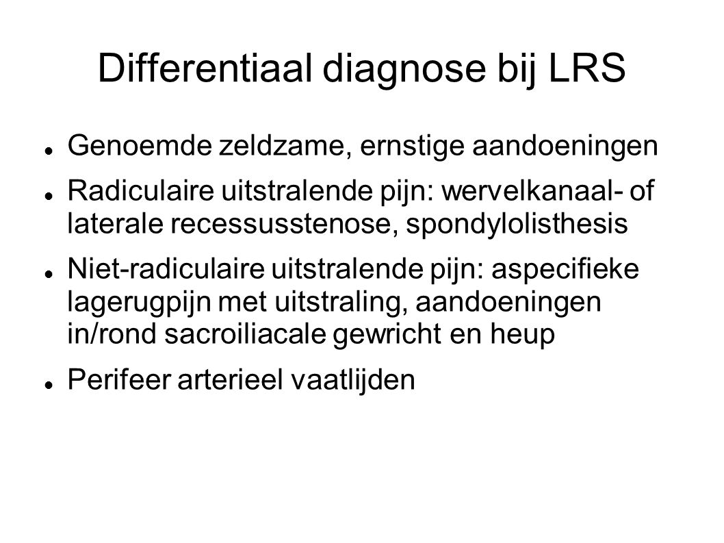 Differentiaal diagnose bij LRS